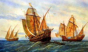 Columbus sails for the New World